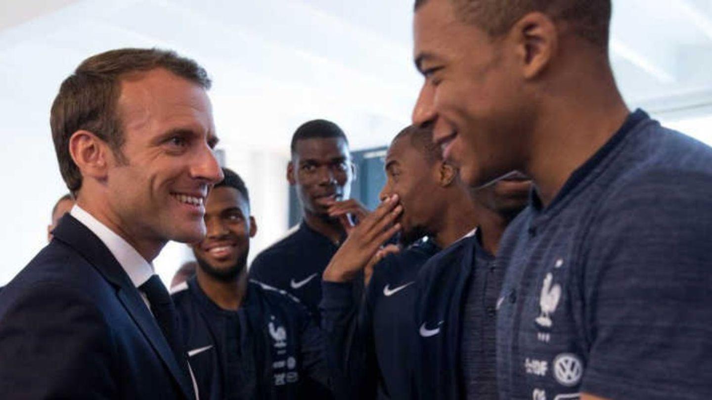 Emmanuel Macron et Kylian Mbappe