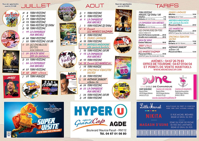 Programmation d'été au Cap d'Agde
