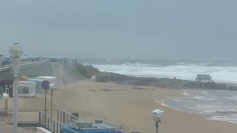 La plage de Tanchet après le naufrage, vu depuis une webcam