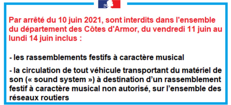 Rassemblements festifs interdits en Côtes d'Armor