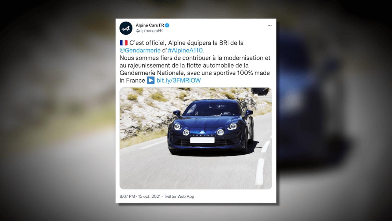 La Gendarmerie s'équipe d'Alpine