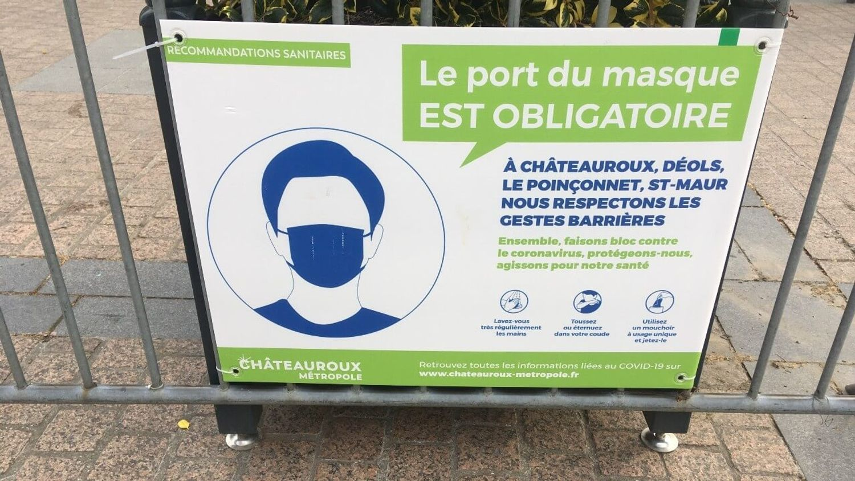 Panneau port du masque obligatoire à Châteauroux