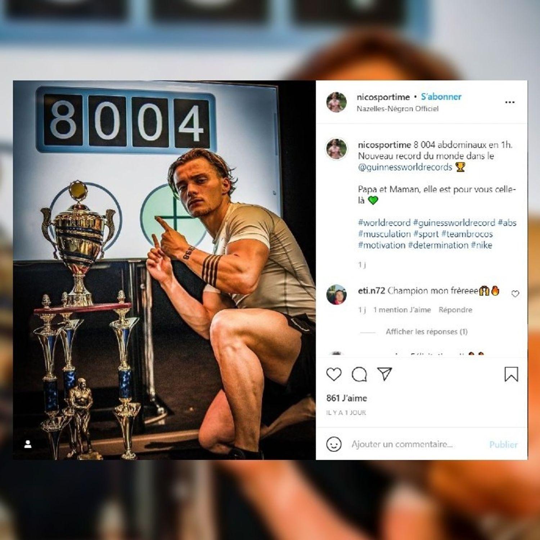 Le Sarthois Nicolas Bodereau nouveau recordman du monde d'abdos