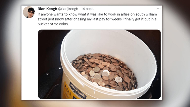 Dernier salaire en pièces de 5 centimes