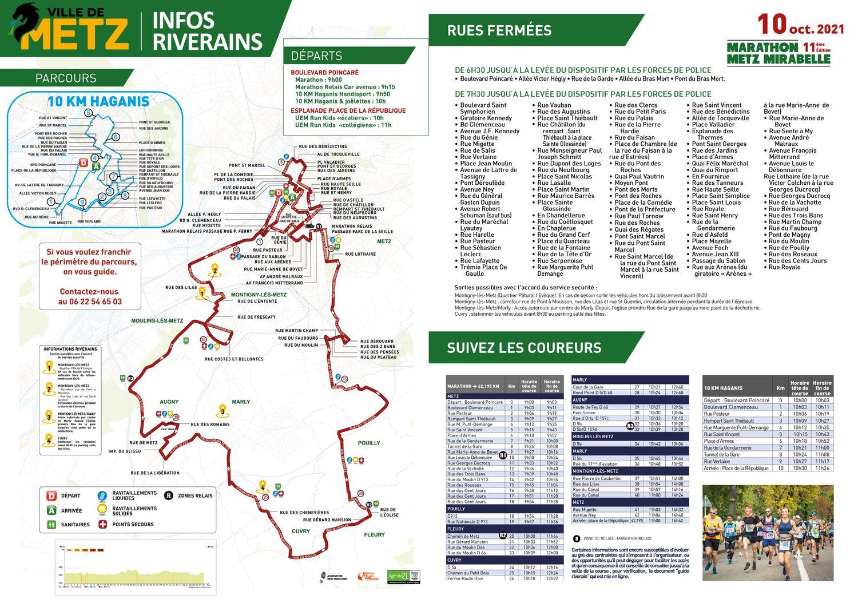 La liste des rues concernées par le Marathon de Metz lors de cette 11e édition