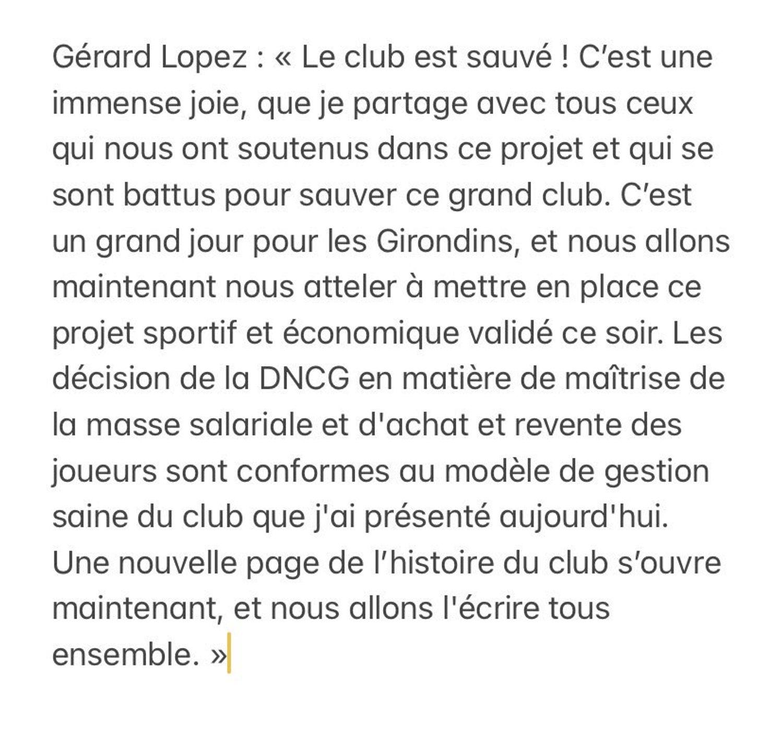 Communiqué Gérard Lopez