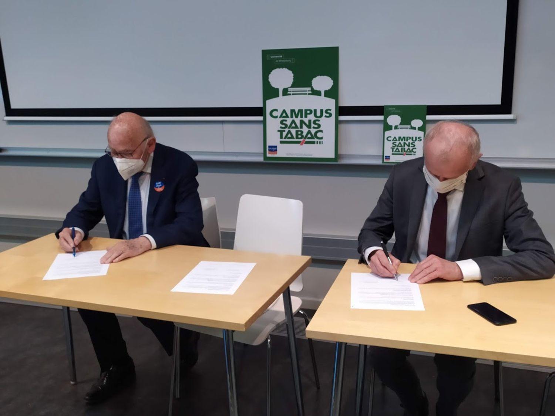 Signature convention tabac université Strasbourg ligue contre le cancer