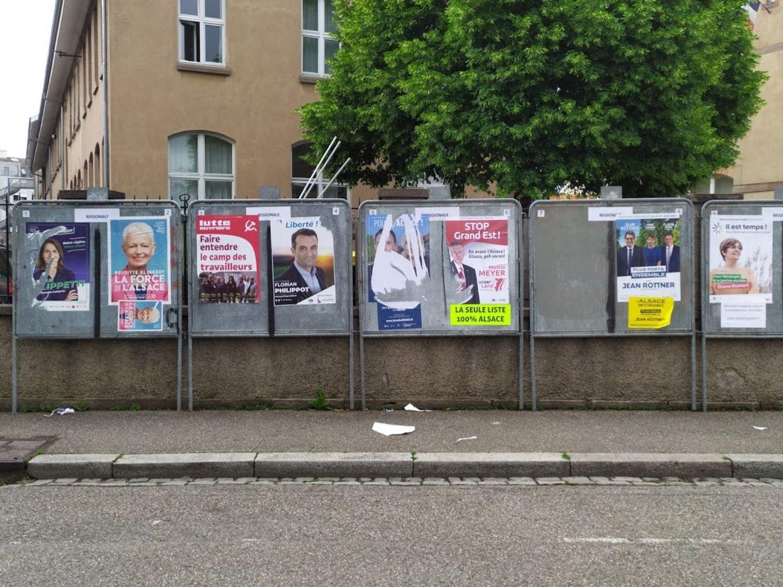 Panneaux électoraux régionales 2021 Strasbourg Cronenbourg