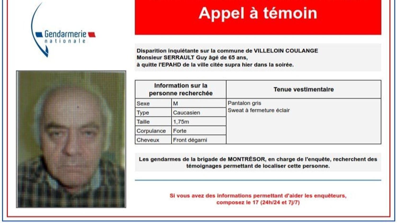 Un sexagénaire est porté disparu en Indre-et-Loire.