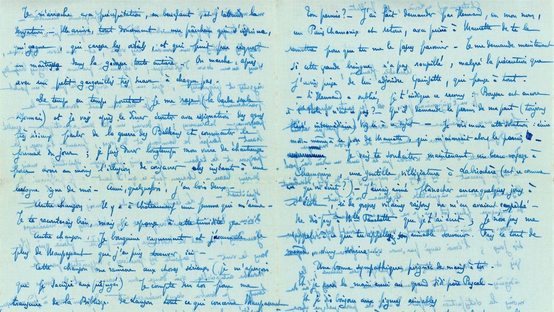 Le lot de 7 lettres manuscrites envoyées par Maurice Genevoix est estimé en 200 et 400 euros.
