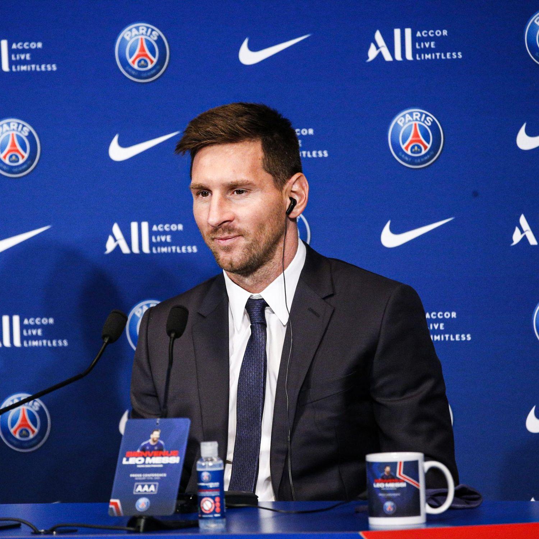 Lionel Messi lors de sa présentation par le PSG au Parc des Princes, le mercredi 11 août 2021.