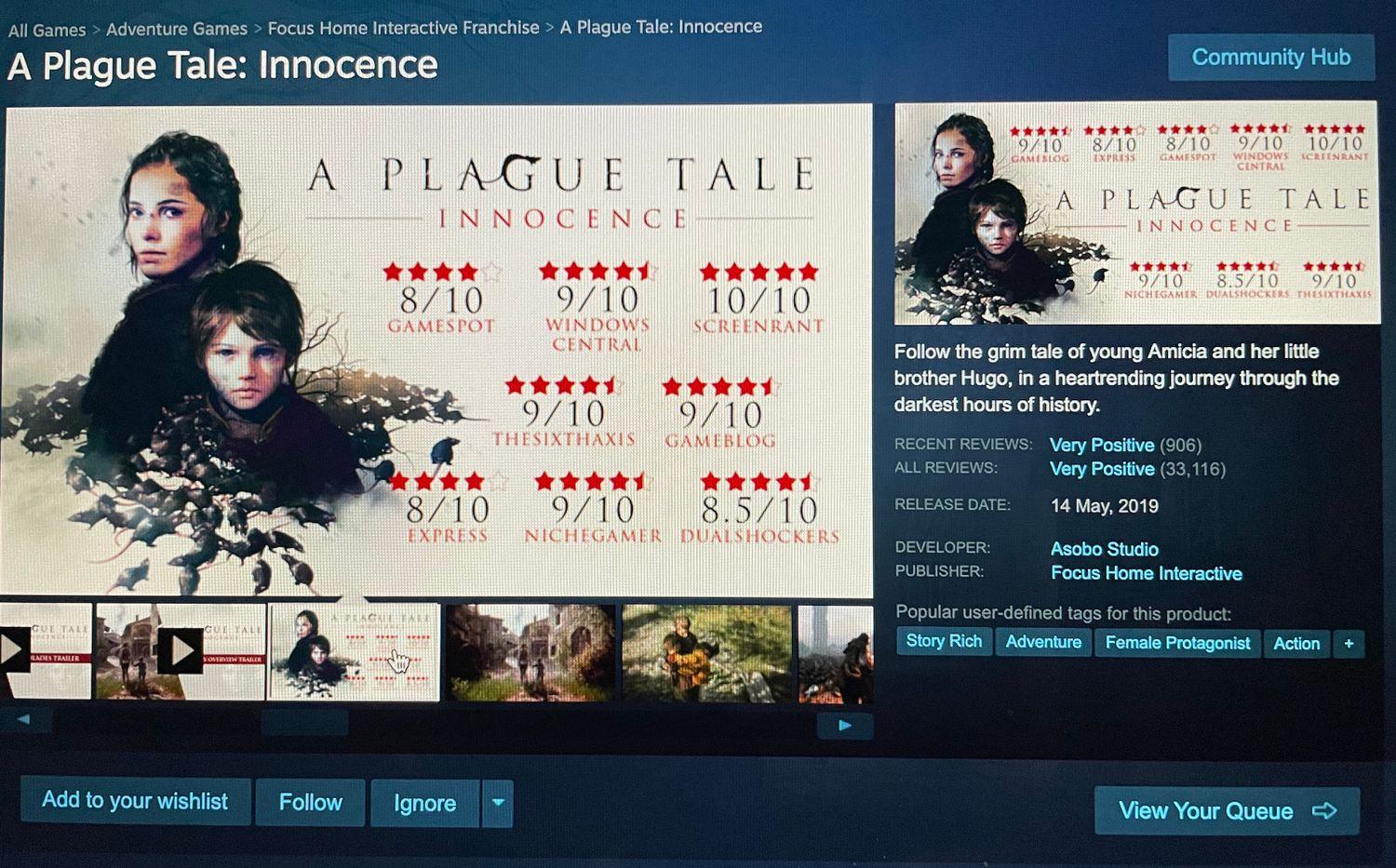 Capture d'écran de Plague Tale : Innocence sur Steam
