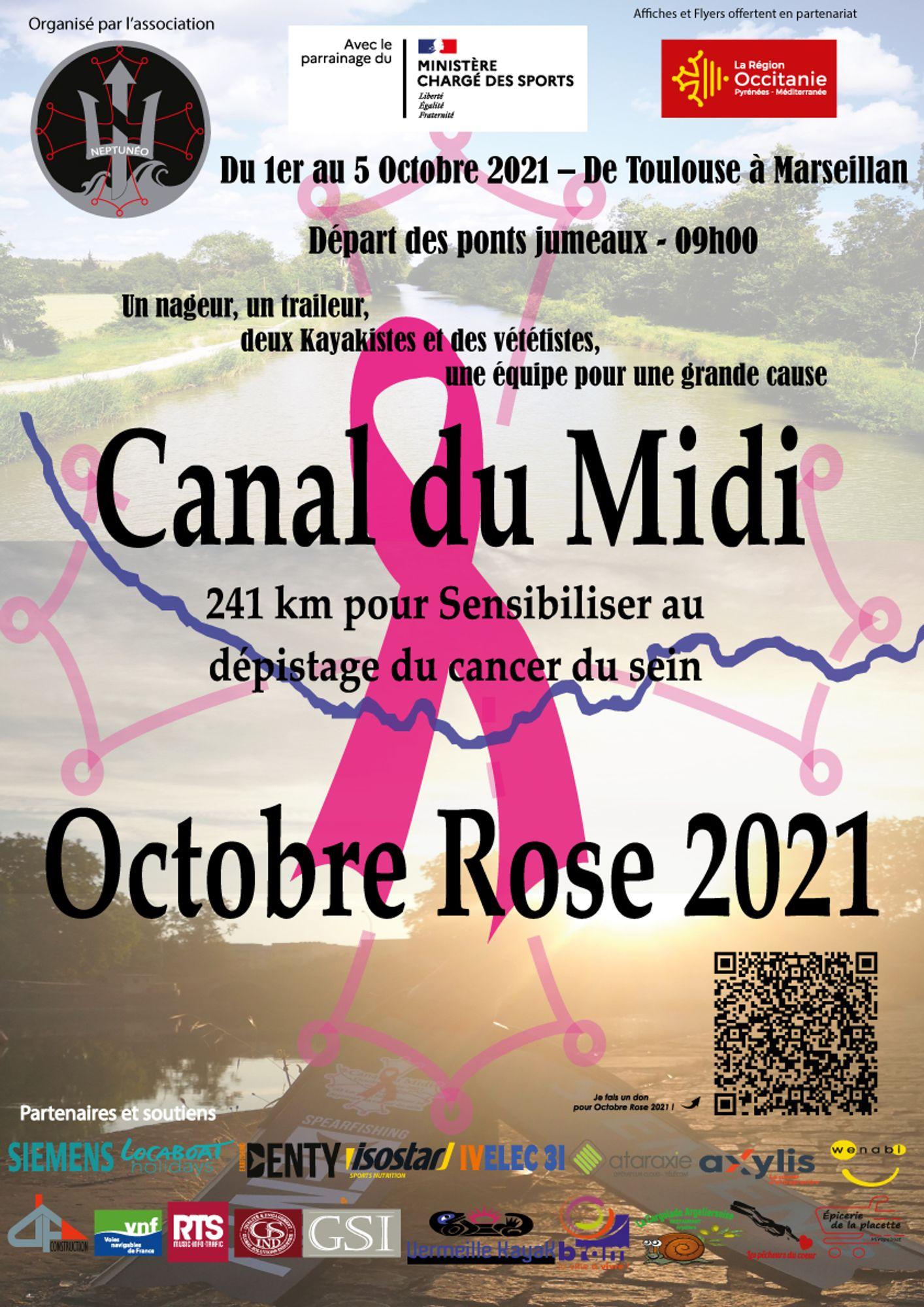 Descente canal du Midi / Octobre rose
