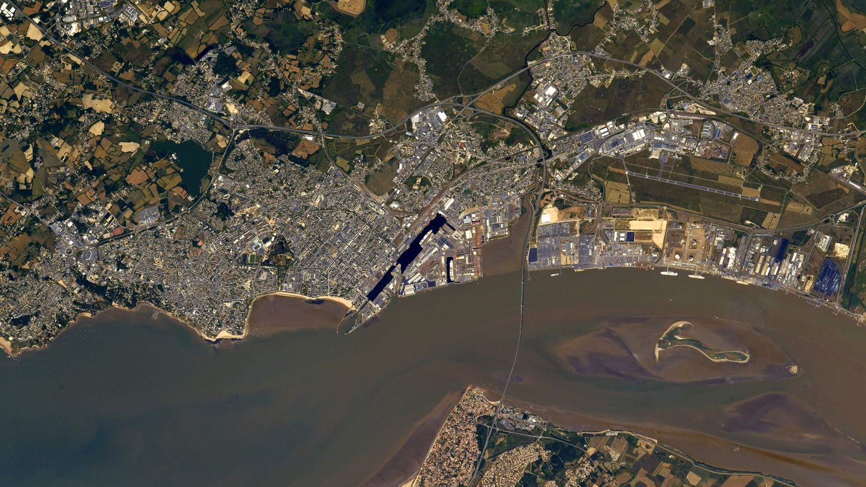 La ville de Saint-Nazaire vue de l'ISS