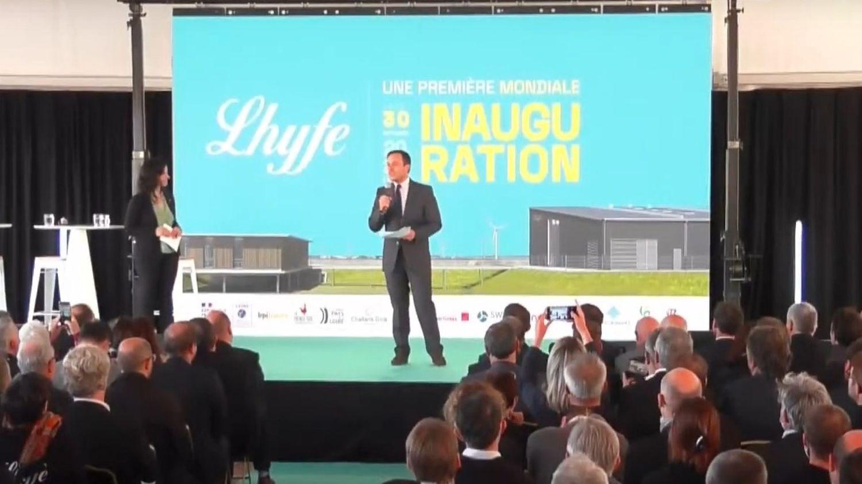 Inauguration de Lhyfe, en Vendée, en présence du maire de Bouin Thomas Gisbert