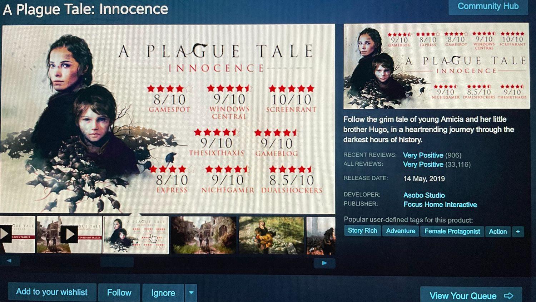 Jeux-vidéos : A Plague Tale : Innocence aura sa suite.