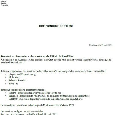 FERMETURE DES SERVICES DE L'ETAT DU BAS-RHIN