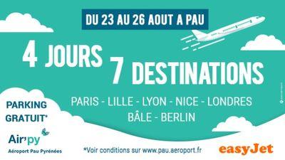 4 JOURS 7 DESTINATIONS AVEC L'AÉROPORT DE PAU : Paris, Lille, Lyon, Nice, Londre, Bâle et Berlin !
