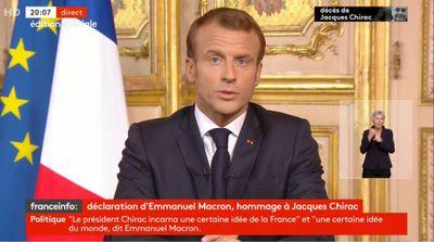"""J. CHIRAC   L'hommage d'Emmanuel Macron ce soir : """"le Président..."""