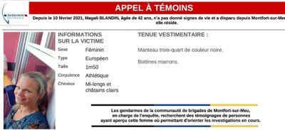 Montfort-sur-Meu : nouvelle battue ce vendredi pour retrouver Magali