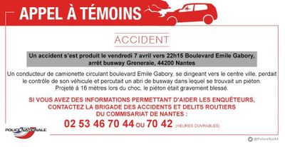 Nantes : la police lance un appel à témoins après un grave accident