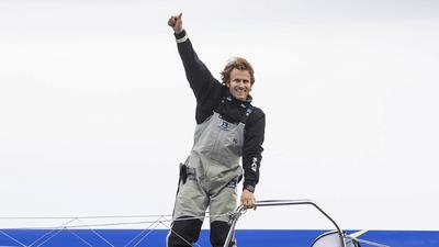Le skipper François Gabart met à l'eau son tout nouveau trimaran à...