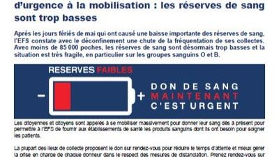 EFS APPEL D'URGENCE A LA MOBILISATION
