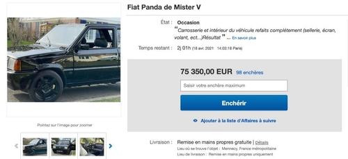 Mister V : sa Fiat Panda revendue aux enchères par le gagnant du...