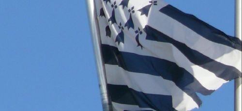 Des militants de Bretagne Réunie hissent un drapeau breton sur les...