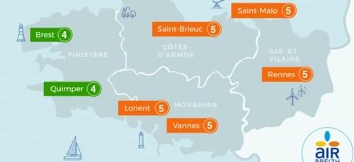 Pic de pollution à l'ozone O3 en Côtes d'Armor