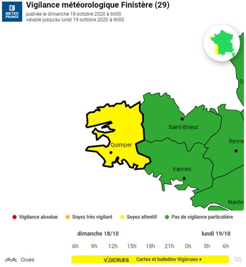 Météo France place le Finistère en vigilance jaune pour risques de...