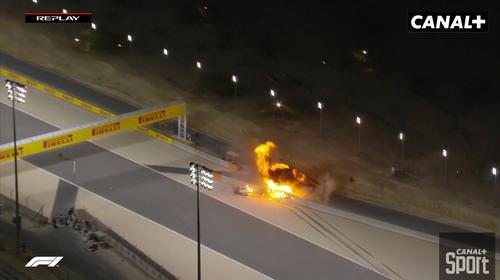 Le français Romain Grosjean victime d'un impressionnant accident...
