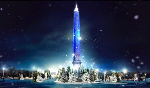 Noël : une pluie de flocons lumineux projetés sur l'obélisque de la...