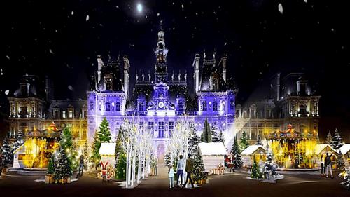 Paris : le parvis de l'Hôtel de Ville propose son village de Noël...