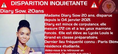"""Disparition inquiétante à Paris de Diary Sow la """"meilleure élève du..."""