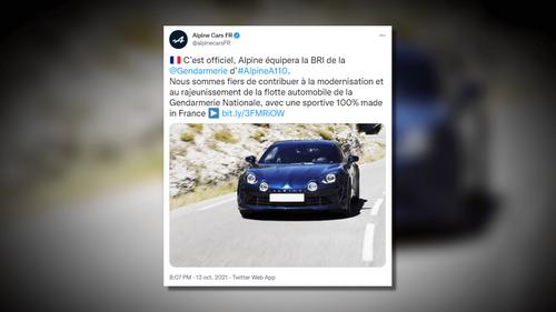 La Gendarmerie s'équipe de 26 Alpine A110 pour les courses-poursuites