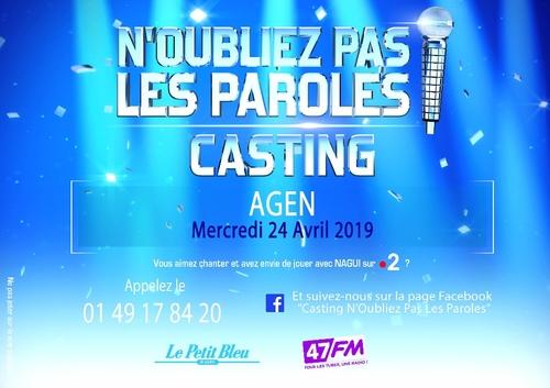 """Casting de """"N'OUBLIEZ PAS LES PAROLES"""" à Agen"""