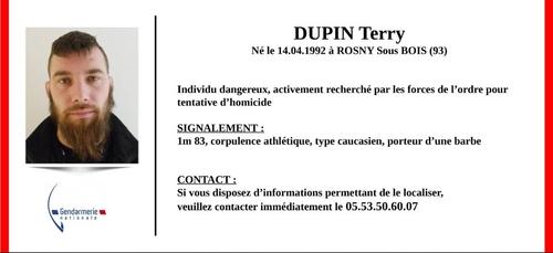Terry Dupin, l'ex-militaire traqué en Dordogne, placé en garde à vue