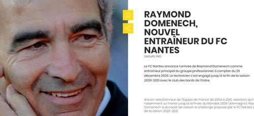 C'est officiel, Raymond Domenech est le nouvel entraîneur du FC...
