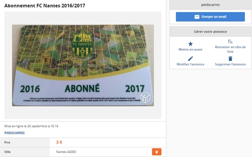 Un supporter du FC Nantes vend sa carte d'abonnement sur leboncoin...