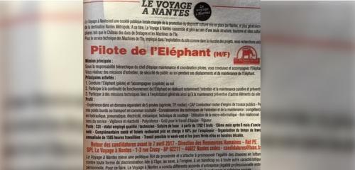 Insolite : qui veut piloter l'elephant du Voyage a Nantes ?