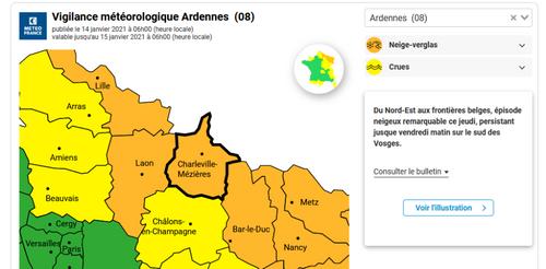 Les Ardennes en vigilance orange neige-verglas