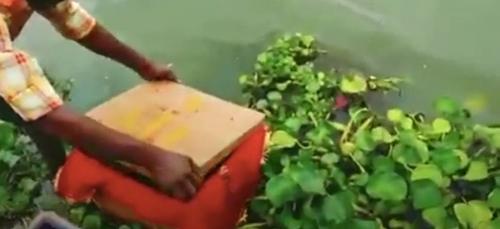 Un nouveau-né découvert dans une boîte flottant sur un fleuve (VIDÉO)